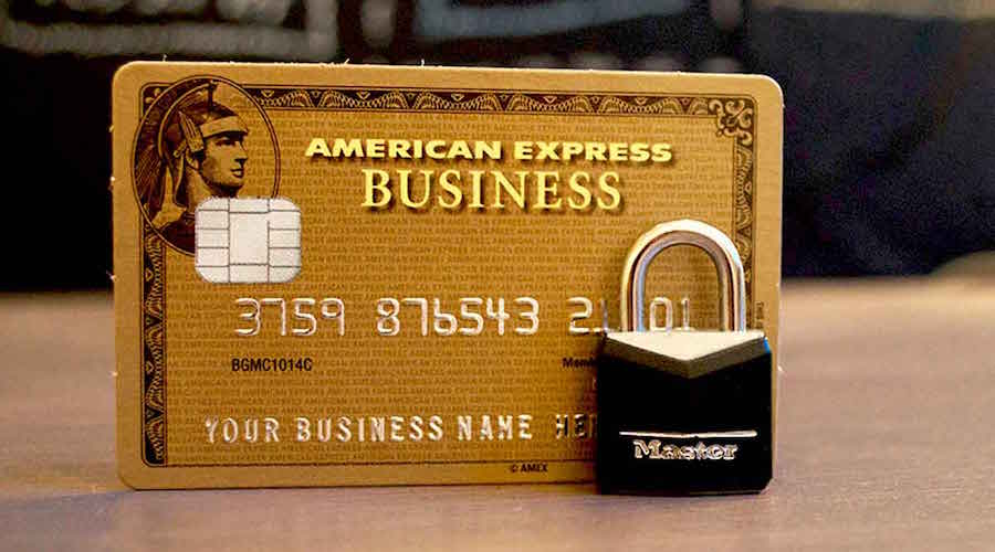 American Express credit card with a small security lock in front of it