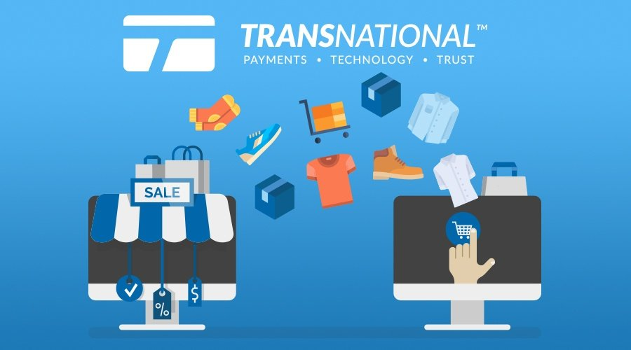 Vector image of purchases moving from a small business to the customer's computer