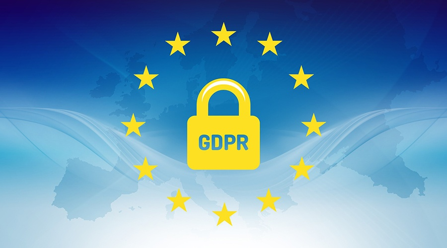 Golden GDPR lock inside a transparent European flag with an outline of Europe in the background