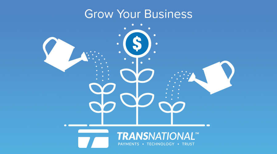 """Two watering cans pouring water on a plant with the """"grow your business"""" phrase above and TransNational Payments' logo below"""