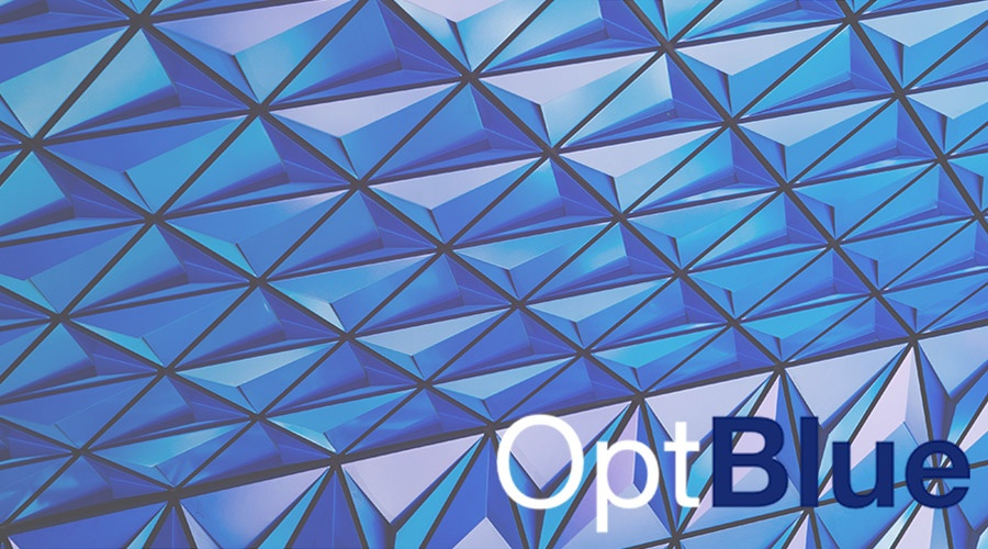 Abstract blue crystal glass structure with an OptBlue logo in the corner
