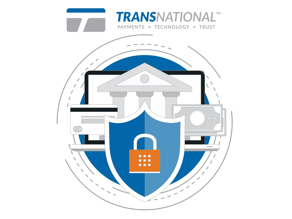 Payment solutions protected by a shield with a TransNational Payments logo at the top