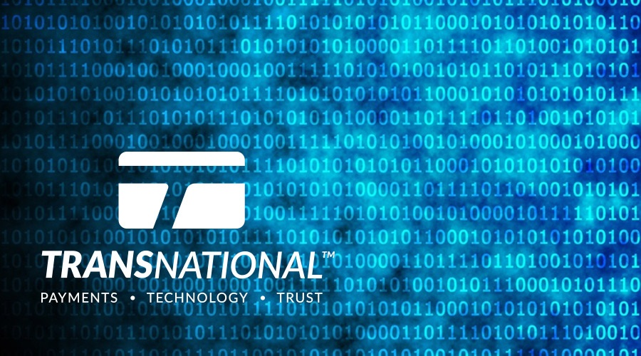 TransNational Payments logo placed over a binary code on a shiny blue background