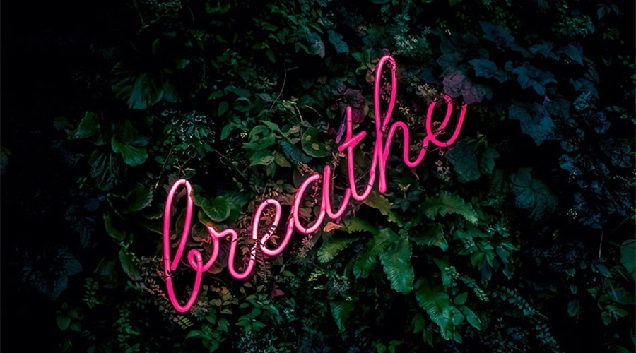 Neon pink sign that spells word breathe