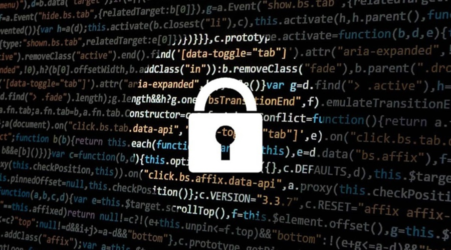 White padlock in a spotlight with lines of code in the background